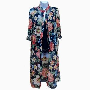Zara Duster Floral Sheer Smocked Black Button XS